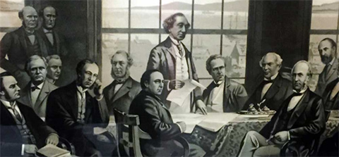 Lithograph depicting Quebec Conference in 1864 on Canadian Confederation