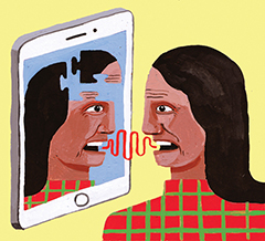 Illustration of an older woman talking to her iPad.