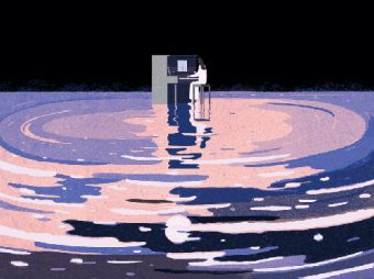 Illustration of a woman playing the piano in the middle of a pool of water.