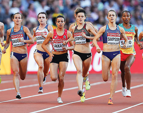 Photo of Gabriela Stafford running in a race at the World Championships in London.
