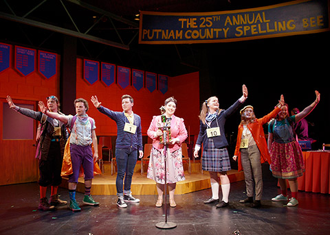 Production shot of the 25th Annual Putnam County Spelling Bee cast onstage.