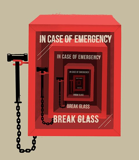 "Illustration of an ""In case of emergency, break glass"" box"