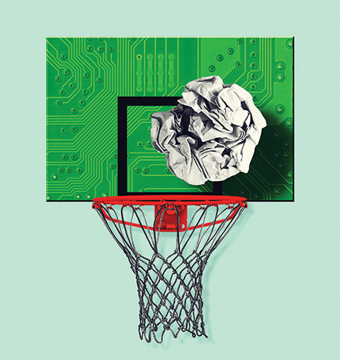 Illustration of a crumpled paper ball falling into a basketball net with a circuit board as the backboard.