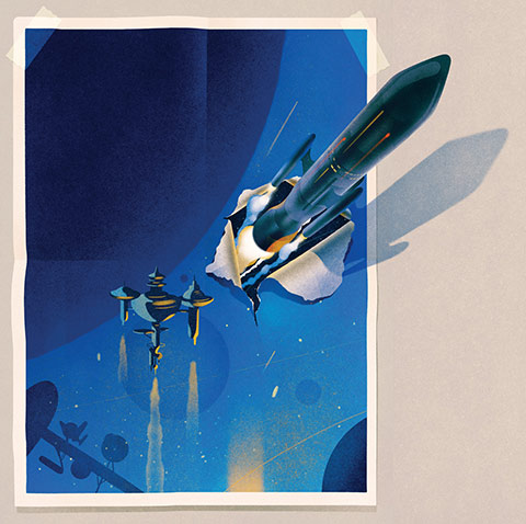 Illustration of a rocket ripping through the poster of outer space and a space station.