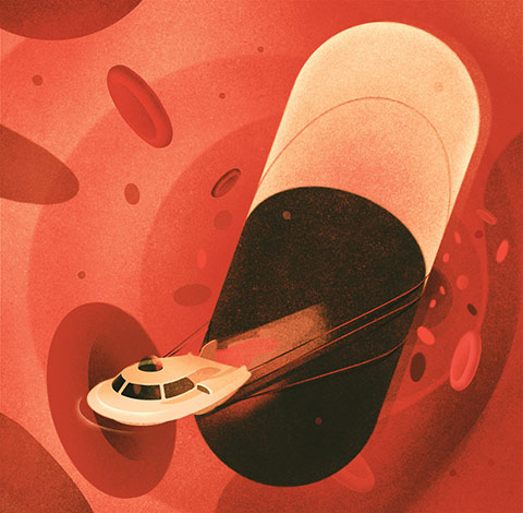 Illustration of a spaceship-like vehicle towing a gigantic pill while navigating around red blood cells inside a blood vessel.