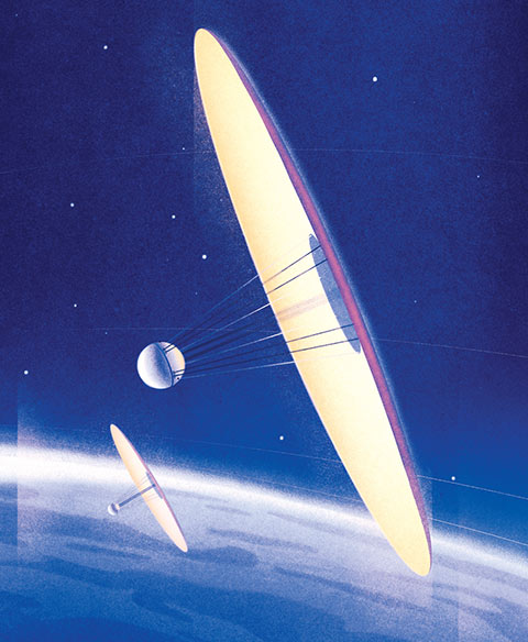 Illustration of two spherical spacecrafts in orbit, each attached to a gigantic disc-like solar sail.