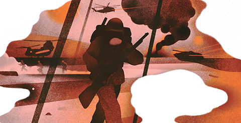 Illustration of an armed soldier upfront and helicopters, smoke and running soldiers in the background.