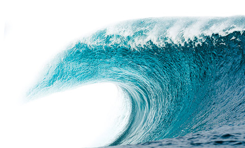 Photo of a large ocean wave.