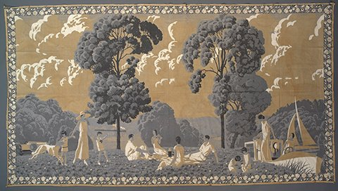 "André Édouard Marty ""La Vie au grand air"" printed cotton tabby wall hanging, 1925"