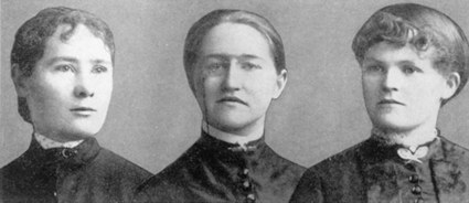 Three of the women who graduated from University College in 1885, members of the first graduating class that included women: from left to right, Margaret Langley, May Bell Bald, and Ella Gardiner. Two daughters of the Globe publisher George Brown, Margaret and Catherine, also graduated in 1885, but their pictures were not included in the composite.