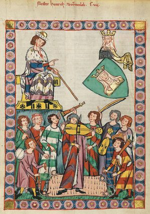 Medieval painting depicting a musical performance