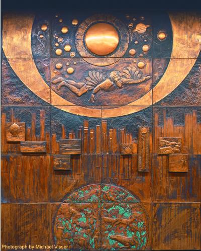 Copper mural by Laszlo Buday