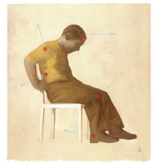 Illustration of a man sitting on a chair, appearing to be in pain