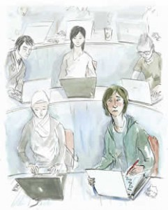 Illustration of students on laptops