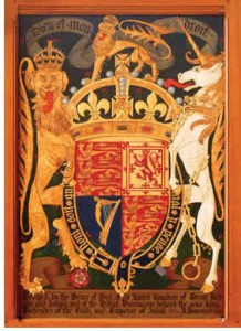 This Royal Coat of Arms forms the centrepiece of the heraldic display in Hart House's Great Hall