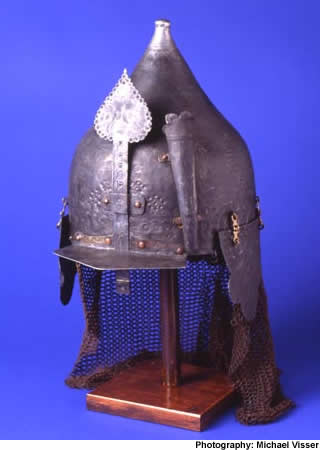 The helmet, most likely from the 14th century, was worn by a Turkish archer