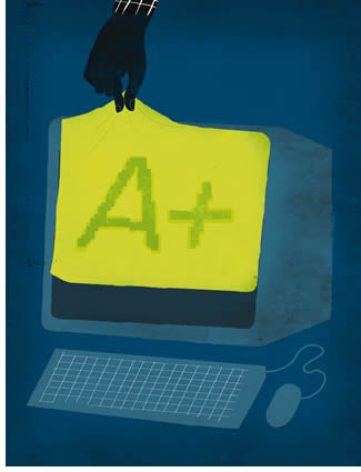 Illustration of a computer with A+ written on a sheet on it