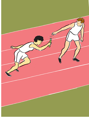 Illustration of a baton pass in a relay, where the baton is a test tube