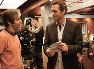 David Shore and Hugh Laurie on the set of House. Photo courtesy of Fox/Global