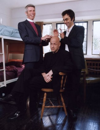 Anthony Burton, Doug Cooper (seated) and Atom Egoyan in a residence room in Angel's Roost at Trinity College