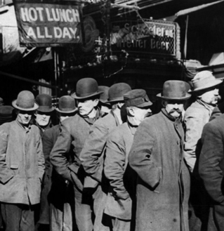 Photo of men lining up