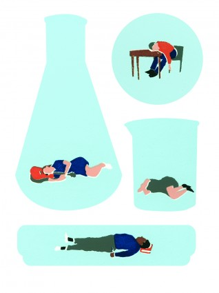 Illustration of people sleeping in test tubes