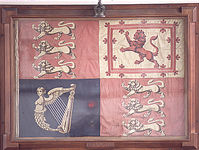 The flag, the Queen's royal standard, is from Osbourne Castle on the Isle of Wight