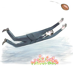 Illustration of a man in a business suit leaping to catch a football