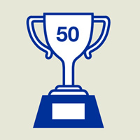 Trophy that says 50 on it