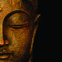 Photo of the face of a Buddha statue