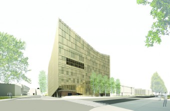 Office dA's proposal for the Daniels Faculty calls for a new angular glass and steel façade to be constructed over the building's exterior, almost like a helmet.
