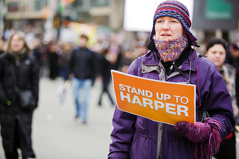 A Toronto protest against Prime Minister Stephen Harper's decision to prorogue Parliament drew about 5,000 people to Dundas Square. A Facebook group protesting the same thing claims more than 200,000 members.