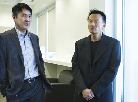 Francis Shen (left) is co-CEO of Aastra Technologies with his brother, Anthony Shen. Photo by Lee Towndrow
