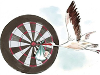 Illustration of a stork hitting a bullseye