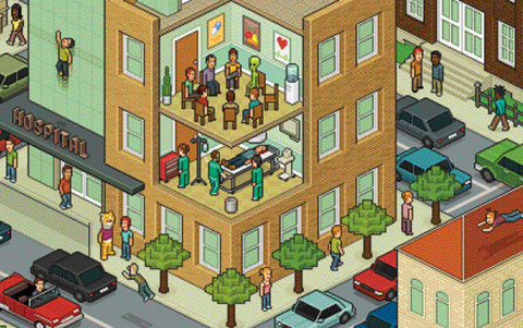 Illustration of a pixelated city block - cross section of a building with people inside of it.