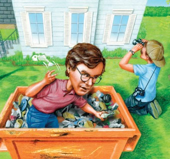 Illustration of a man sorting through a trash bin while behind another person looks into house with binoculars.