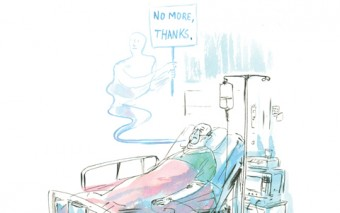 """Illustration of a man in a coma; a ghost above holds a sign that says """"No more, thanks"""""""
