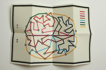 Illustration of a map shaped like a brain.