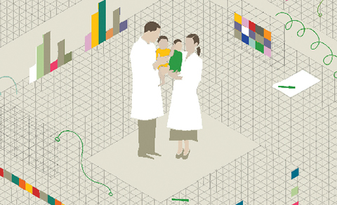 Illustration of adults (parents) wearing labcoats and holding infants.