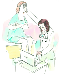 Illustration of a doctor using a laptop while covering a patient's face with her hand.