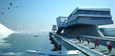 Architectural rendering of an arctic bridge structure.: the Bering Strait Ice Link.