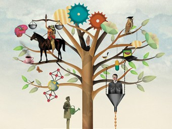 Illustration of great inventions and inventors in a tree.