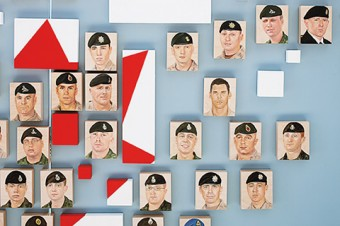 Portraits of fallen soldiers.
