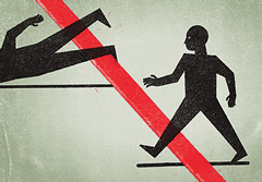 Illustration of figures stepping and tripping over red tape.
