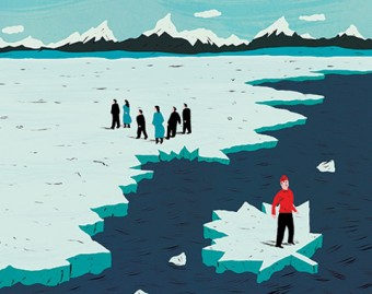 Illustration of a person on a maple-leaf shaped block of ice, separated from a group of people on an icy shore.