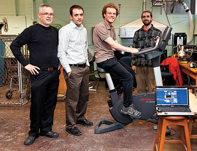 "The ""green gym"" development team. From left: Chris Lea, Olivier Trescases, Andrew Rosselet, Pete Scourboutakos."