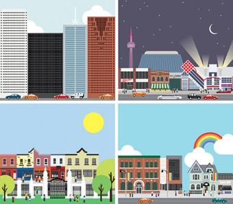 Four illustrations of the Toronto skyline.