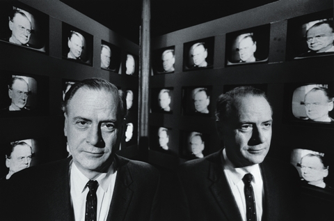 McLuhan at the CBC in Toronto, January 1966 Photo: Henri Daumain, for Life Magazine, Courtesy of The Estate of Marshall McLuhan
