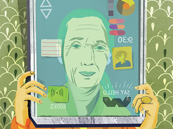 Illustration of an older person reading using a digital device.