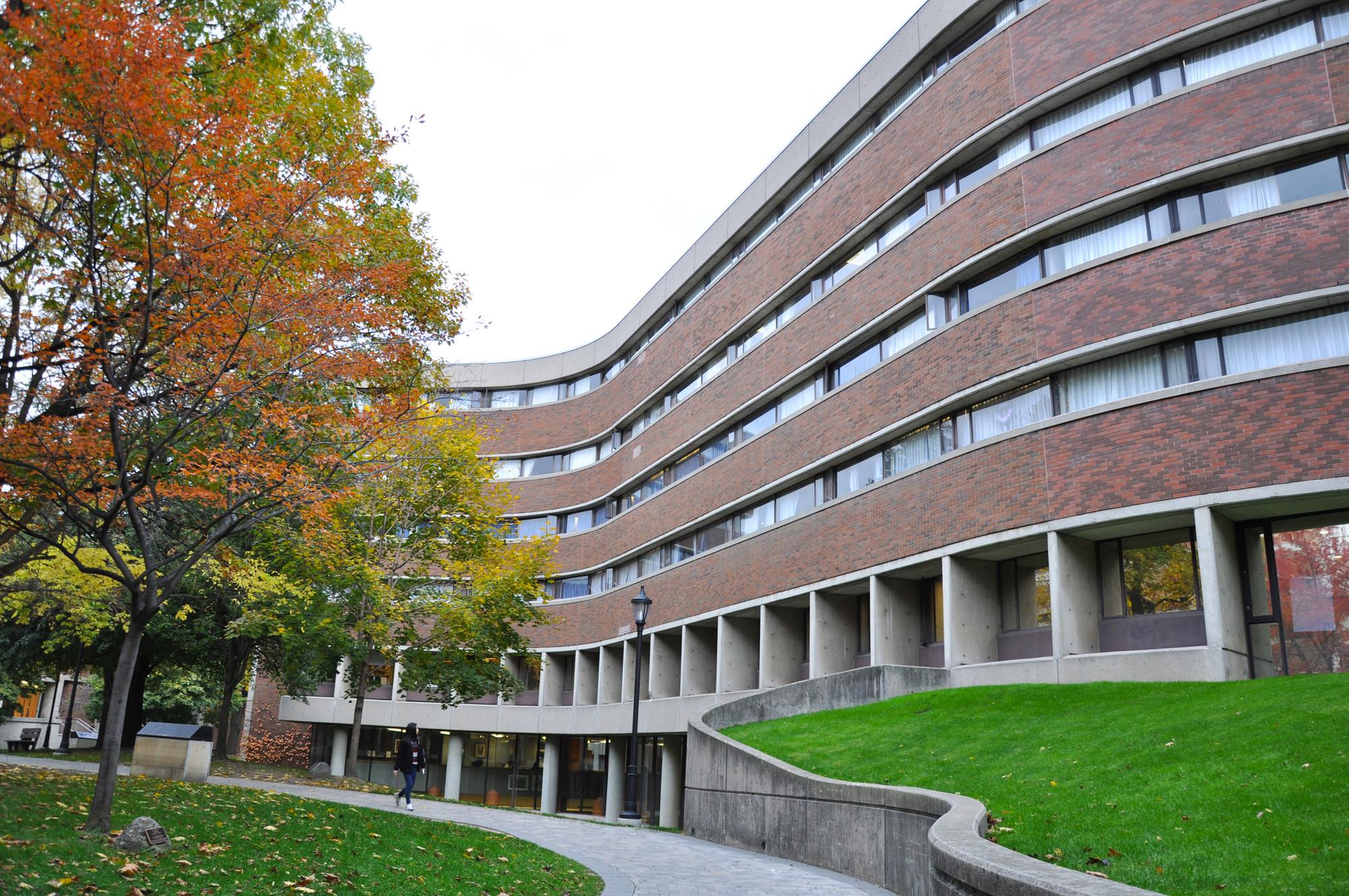 Courtyard between New College buildings.